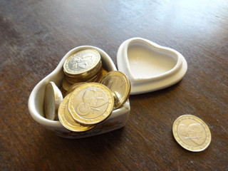 Ceramic Heart Shape Money Box and Coins