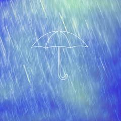 Illustrated white umbrella on rainy background