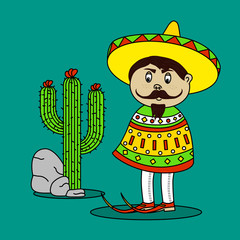 Mexican Man Standing By A Cactus and rocks