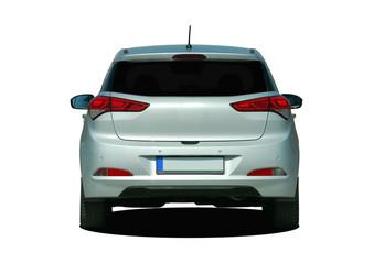 gray car rear view
