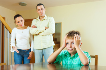 Parents and teenager  having conflict at home
