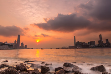Sunset at Victoria Harbour of Hong Kong