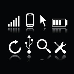 Set of modern gadget icons in black background