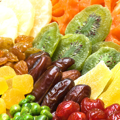 Group of dried fruits
