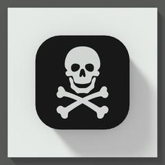 Skull and bones symbol square button