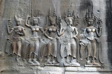 Bas-relief at Angkor Wat. Cambodia