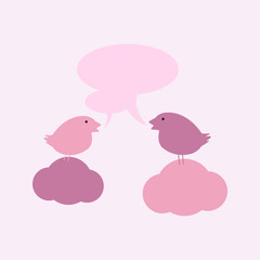 Birds on clouds with speech bubbles