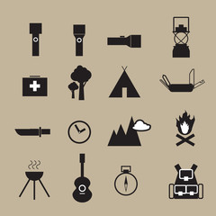 Camping outdoor adventure objects icons