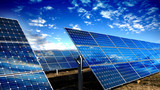 Solar panels modules and blue sky with clouds - 82963207