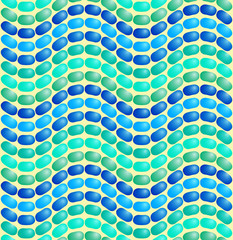 Sea wave. Seamless volume mosaic pattern.