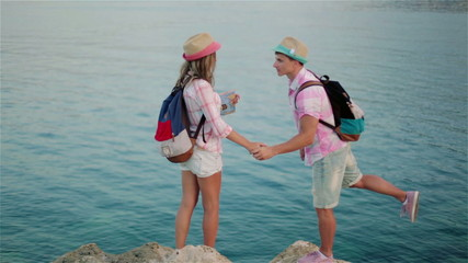 The guy with the girl on the seashore