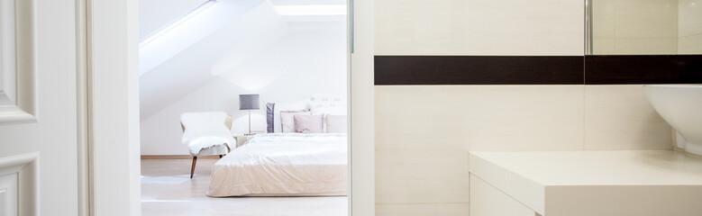 Bedroom with open door