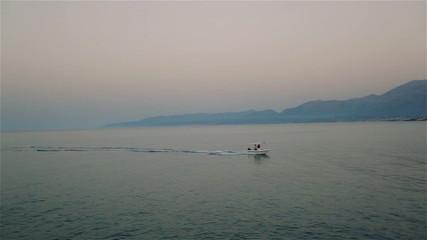 Wonderful evening at the seaside. Mist.