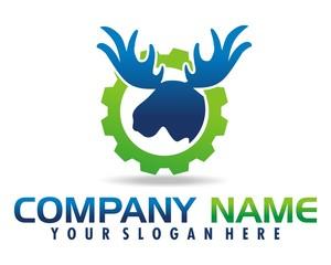 large deer antlers logo image vector