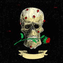 Skull Rose and Ladybugs