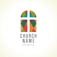 Church cross window logo
