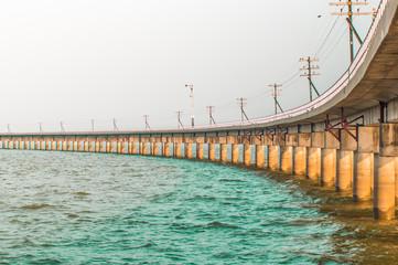 railway bridge across the dam to store water