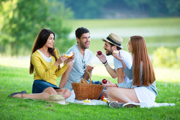 Vier Freunde beim Picknick auf der grünen Wiese