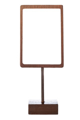 Mock up menu frame template sign wooden stand isolated