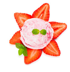 Strawberry ice cream with berry, view from above