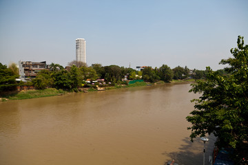 View over the River Maenam Ping in Chiang Mai in Thailand