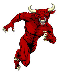 Sprinting red bull mascot