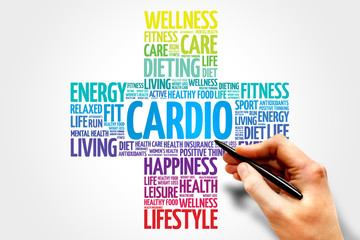 CARDIO word cloud, health cross concept