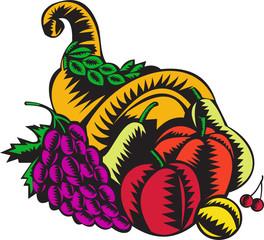 Cornucopia Fruit Harvest Woodcut