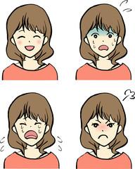 女性の表情/喜怒哀驚