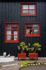 Facade of a house in Torshavn. Faroe Islands