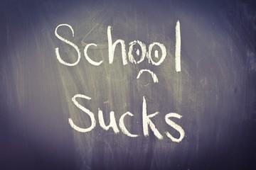 School Sucks, written in chalk on a blackboard