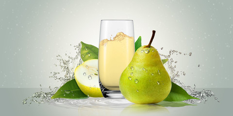 Pears with a glass of juice.