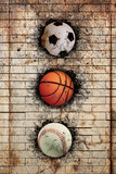 Fototapety basketball, baseball and soccer