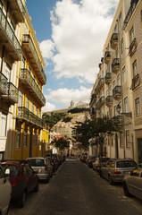 Mouraria neighborhood street and Graca in Lisbon