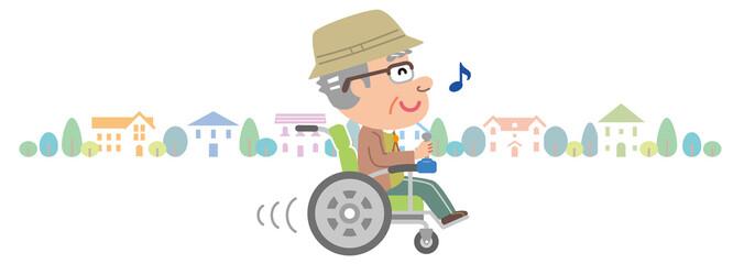 電動車椅子 高齢者 おじいさん 家並み