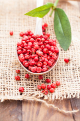 red peppercorns in old spoon