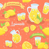 Lemonade Seamless Pattern Illustration Red