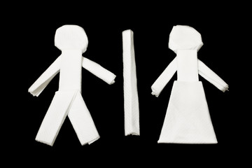 Male Female Symbol, Toilet Symbol, Art from tissues paper