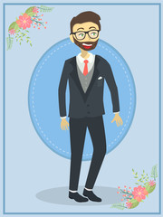 Handsome Wedding Groom in Blue Theme Background