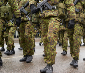 Lined up squad of Estonian soldiers