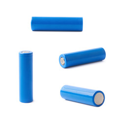 Blue rechargeable battery isolated