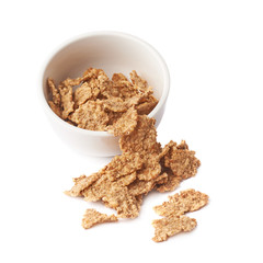 Whole grain cereal flakes in a bowl
