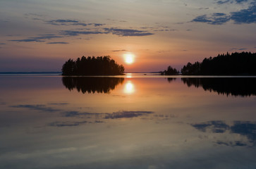 Sunset on the lake in northwest Russia