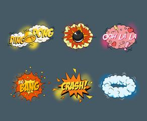 Comic blank text speech bubbles in pop art style set