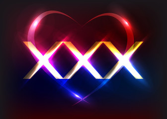 XXX with light effects. Vector illustration