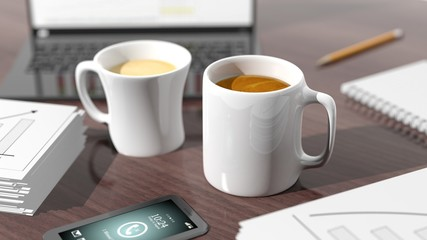 Two cups of coffee on desktop with office objects
