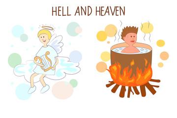 Heaven and hell cartoon vector illustration.