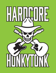 Skull with cowboy hat, crossed guitars