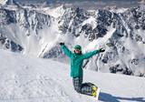 snowboarder  at snow hill, Solden, Austria, extreme winter sport