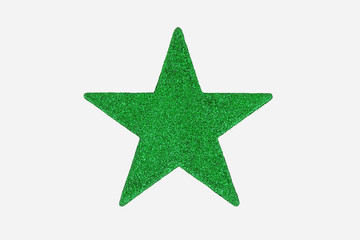 Green Christmas Star Decoration, isolated on white background.